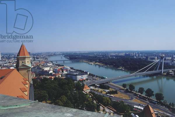 Europe, Slovakia, Bratislava, view from Bratislava Castle of the Danube and New Bridge