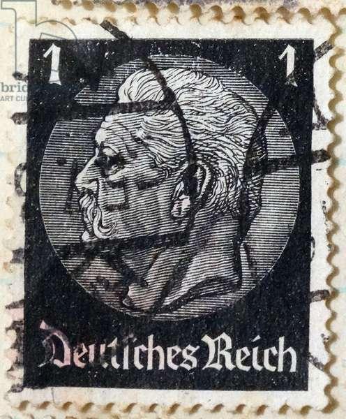 German Postage stamp depicting President Paul Von Hindenburg