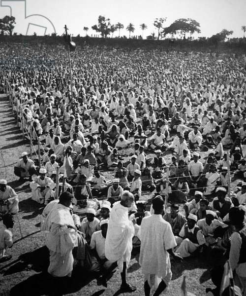 Mahatma Gandhi at a mass meeting in West Bengal, India