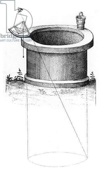 Method of using quadrant fitted with a plumb line and marked with shadow scales to measure the depth of well. From Robert Fludd Utriusque cosmi ... historia, Oppenheim, 1617-1619. Engraving.