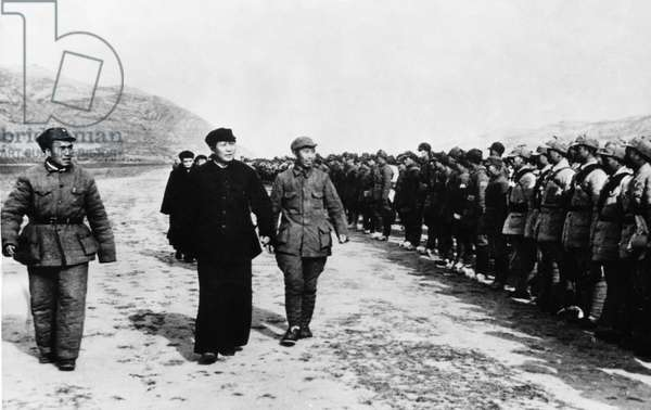 Chu Te (Zhu De), Far Left, and Mao Tse Tung (Zedong) Review Communist Troops in Yenan Stronghold Before They Leave to Go Behind Enemy Lines, Sino-Japanese War, October 1944.