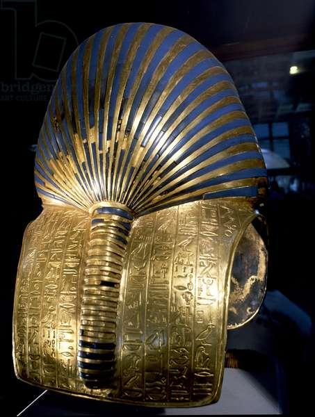 The back of the mask of Tutankhamun,18th dynasty c.1357-1349 BC (gold, glass, semi-precious stones)