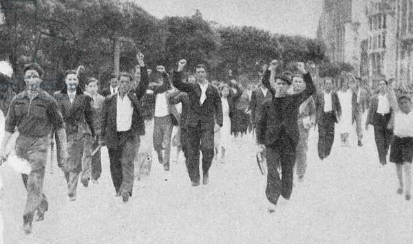 Republican socialists demand arms and munitions during the Spanish Civil War