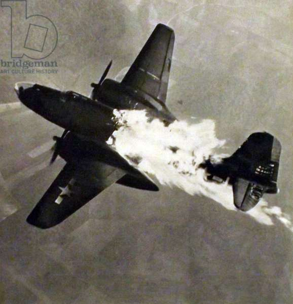A US Air Force bomber is attacked by German guns