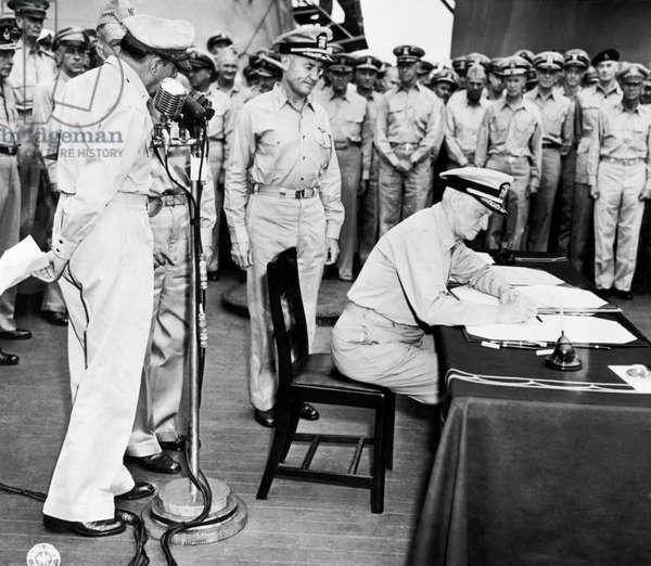 Japanese Surrender Ceremony, Tokyo,, Japan, September 1, 1945 (b/w photo)