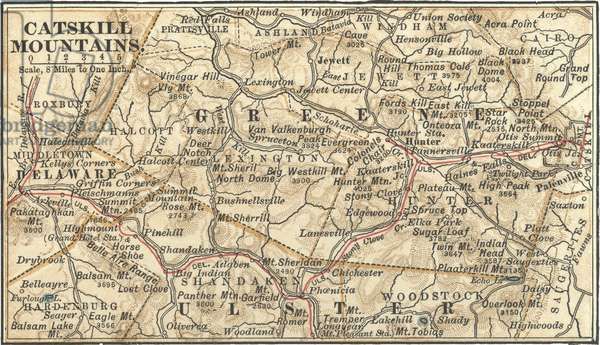 Map of the Catskill Mountains, New York