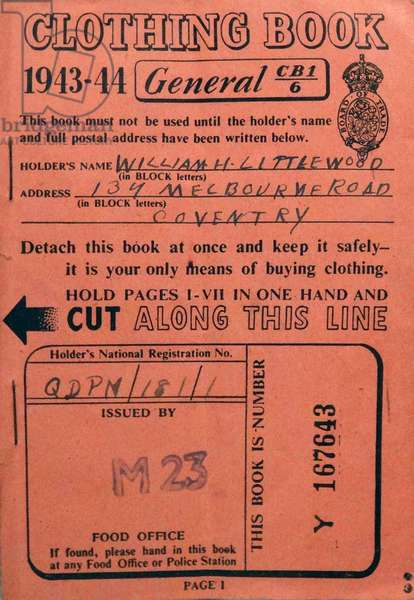 Clothing ration book, 1944