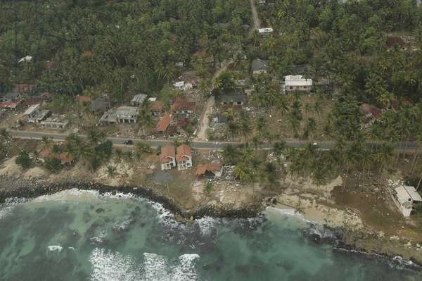 An aerial view of destructed houses in the coastal area near Galle in southern Sri Lanka, severely hit by the tsunami.  (photo)