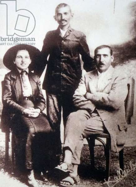 Young Mahatma Gandhi with colleagues Sonia Schlesin and Herman Kallenbach, in South Africa, South Africa