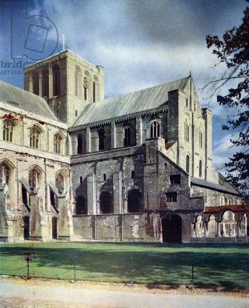 Painting depicting the exterior of Winchester Cathedral