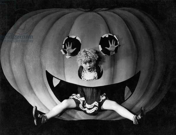 Halloween Girl And Her Pumpkin (b/w photo)