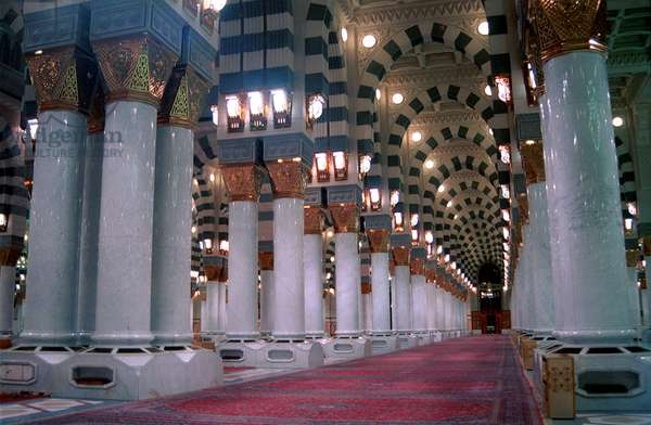 The prophet Mohammad great mosque in Al-Madina city. The grave of Prophet Mohammad is in this mosque and Al-Madina is one of two major and holy cities in the world for muslims which placed in the Kingdom of Saudi Arabia, the other sacred city is Mecca.  (photo)