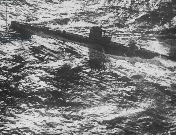 British Navy Submarines, 1916 (b/w photo)
