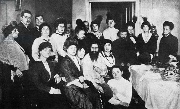 The dark on the eve of the Russian Revolution forces. Rasputin and his court of women. 1917