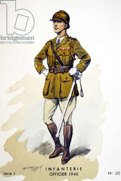 French world war two postcard showing an infantry officer
