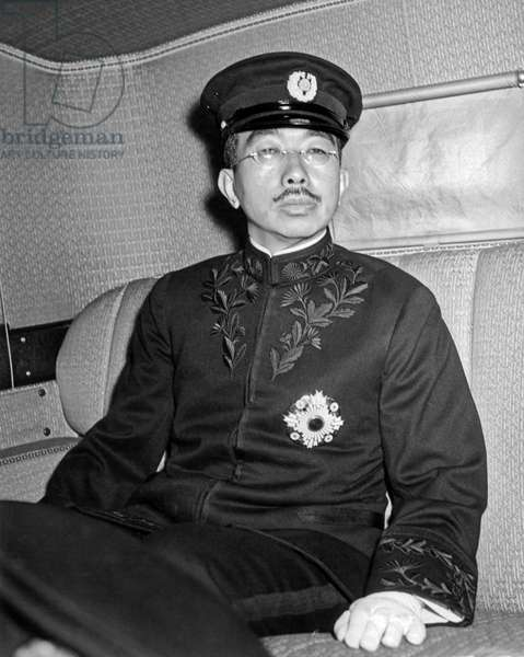 Emperor Hirohito In Limo (b/w photo)