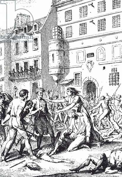 Engraving depicting a scene during the Reign of Terror during the French Revolution, 18th century