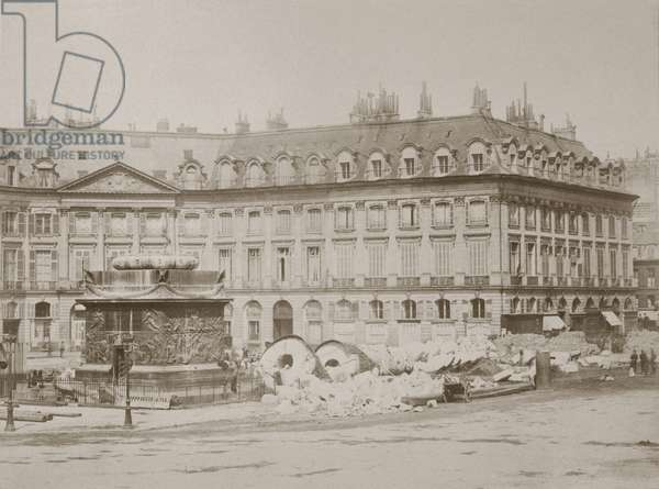 Paris Commune 26 March-28 May 1871. Ruin of the Vendome Column erected by Napoleon to commemorate his victory at Austerlitz, destroyed 16 May 1871. Photograph.