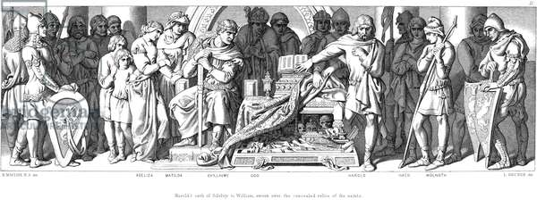 Harold (1022?-1066), last Anglo-Saxon king of England, swears on hidden relics of saints to be William of Normandy's man in England, watched by William, his wife Matilda, daughter Adeliza and half-brother Bishop Odo. From Daniel Maclise The Story of the Norman Conquest, ondon, 1866. Engraving.