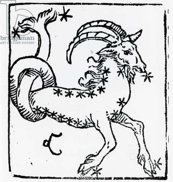 Zodiac sign of Capricorn. From ''Sphaera mundi'', Strasburg, 1539