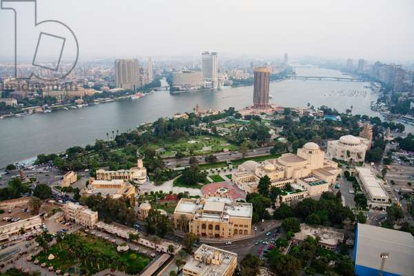 Panoramic View of the Nile River and Cairo, as seen from Cairo Tower, Cairo, Al Qahirah, Egypt (photo)