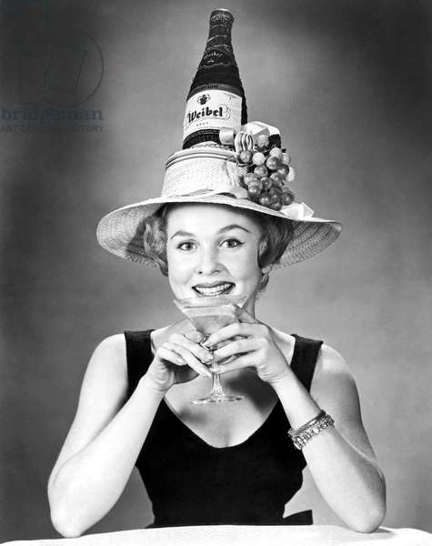 Woman With Champagne Hat (b/w photo)
