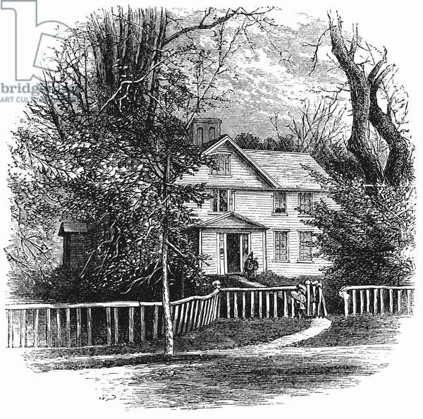 The home of Amos Benson Alcott (1799-1888) and his family, including Louisa May Alcott, at Concord, Massachusetts. Wood engraving, 1875