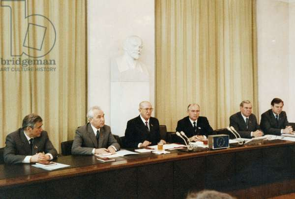 Yuri Andropov, Mikhail Gorbachev, G, V, Romannov, M, V, Zemyanin, I. V. Kapitonov, and N. I. Ryzhkov Meet with the Communist Party Vetean Members at the Cpsu Central Committee in Moscow on August 15, 1983.
