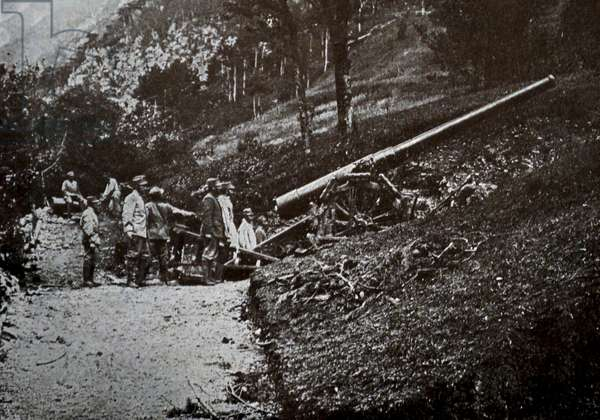 A piece of medium caliber artillery in position on the slopes of Monte Nero