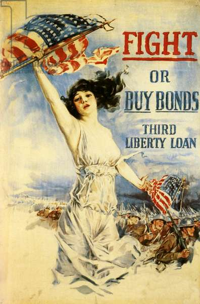 Political Poster. United States. 1918. WWI. Fight or Buy Bonds.