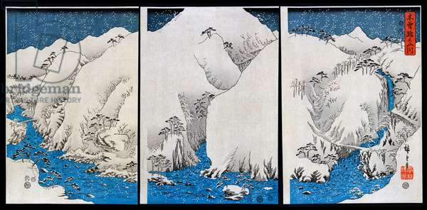 Mountains and rivers on the Kiso Road during a winter snow storm by Hiroshige Ando