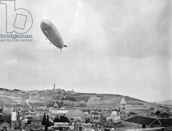 German Zeppelin aircraft flying over Jerusalem, 1931