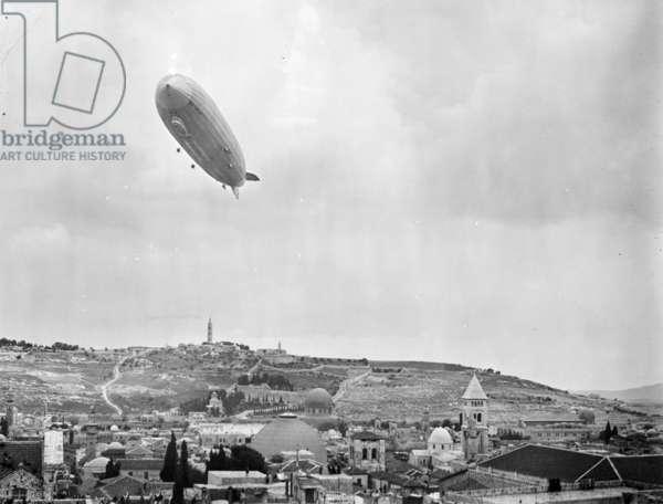 German Zeppelin aircraft flying over Jerusalem, 1931