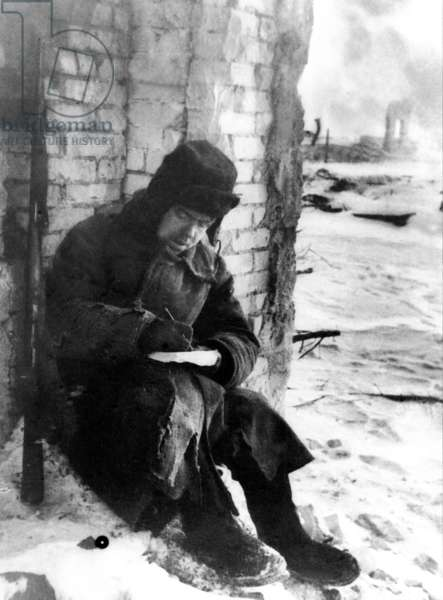 Battle of Stalingrad, 1943, a Red Army Soldier Writing a Letter Home.