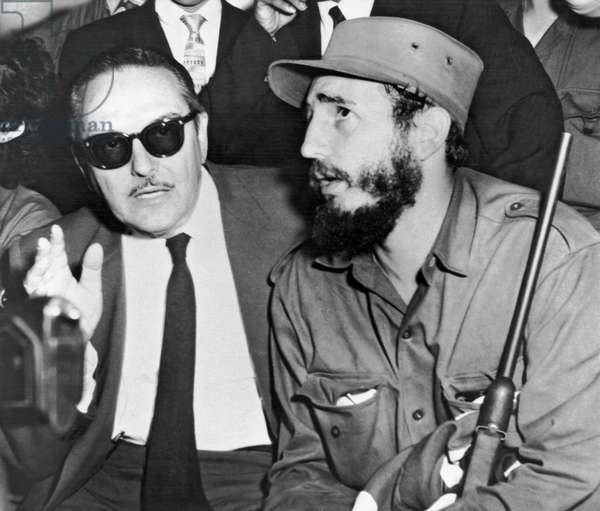 Fidel Castro And Urrutia (b/w photo)