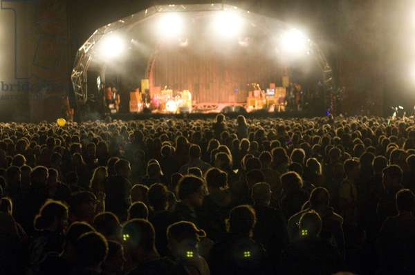 Large crowd in front of the stage, at a music festival, UK
