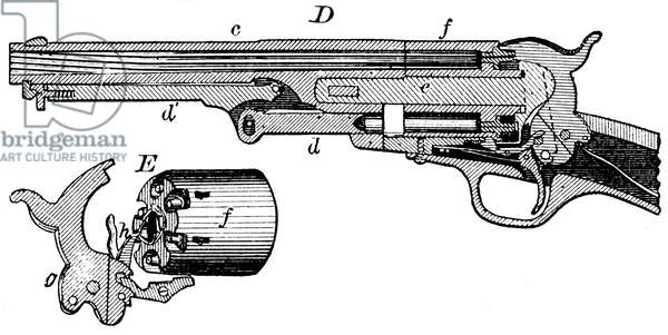 Sectional view of Colt revolver with, at E, the cylinder and revolving mechanism. From Edward H Knight The Practical Dictionary of Mechanics, New York and London c1878.