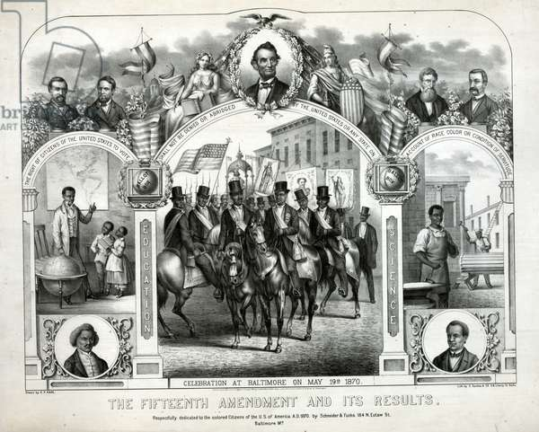 The Fifteenth Amendment and its results drawn by G.F. Kahl 1870. commemorating the celebration in Baltimore of the enactment of the Fifteenth Amendment