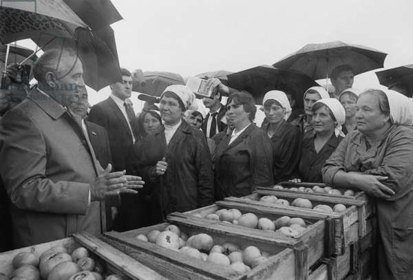 President Of The Soviet Union Mikhail Gorbachev Inspects Krasnorechensky State Farm