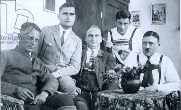 Adolf Hitler with Nazi leaders including Rudolf Hess, second from left, c1923.