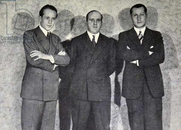 Spanish civil war: Speakers at the founding meeting of Spanish Falange: Alfonso Garcia Valdecasas, Julio Ruiz de Alda and Jose Antonio Primo de Rivera.