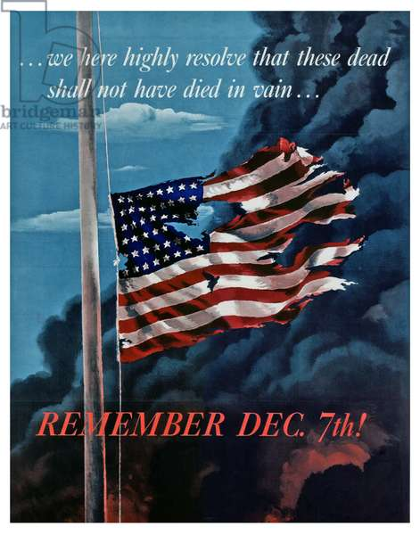 Patriotic propaganda poster in response to the Japanese attack on Pearl Harbour