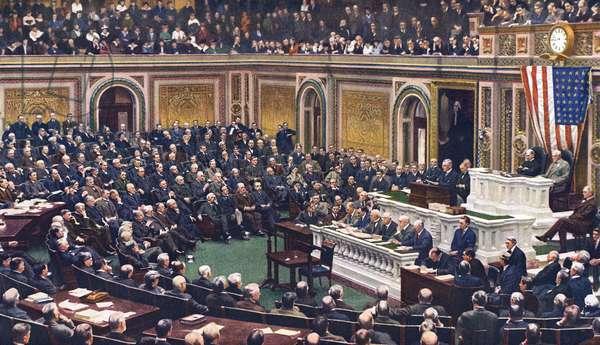 President Woodrow Wilson declaring war on Germany
