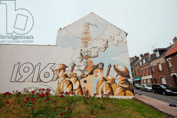Mural Depicting the 1916 Destruction of the Church, Albert, Somme, France (photo)