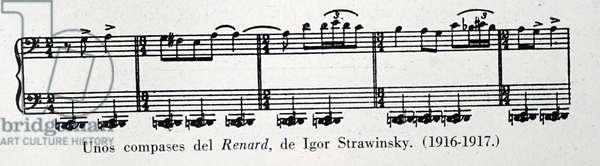 Sheet music for Renard by Igor Stravinsky