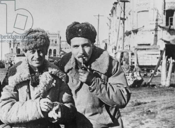 Soviet Writer Konstantin Simonov (Right) and Roman Karmen C, 1943.