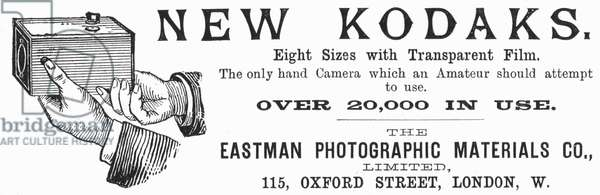 Advertisement for Kodak cameras from The Illustrated London News, 20 September 1890. From 1888 the Kodak box camera took Eastman's coated paper roll film. Engraving.
