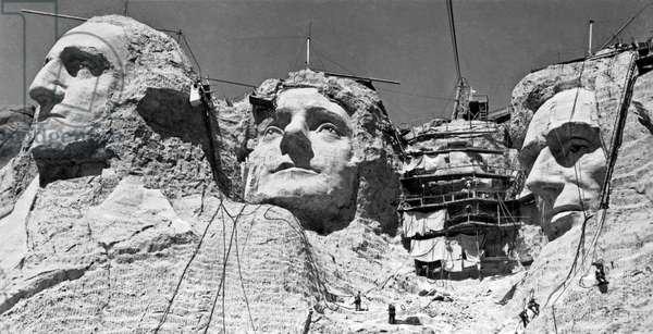 Mount Rushmore In South Dakota (b/w photo)