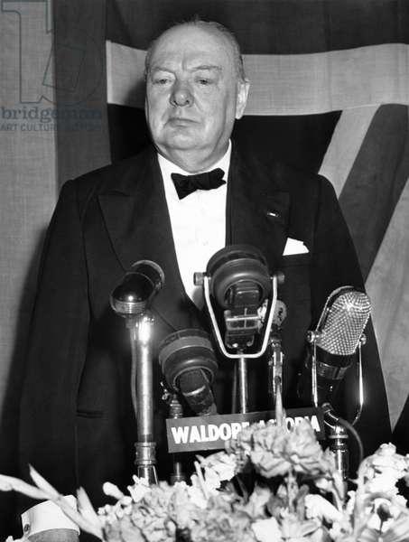 Winston Churchill Speaks (b/w photo)