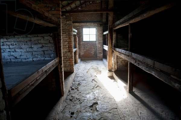 Interior of A Barrack of the Men's Camp, Auschwitz-Birkenau Concentration Camp, Oswiecim, Malopolska, Poland (photo)